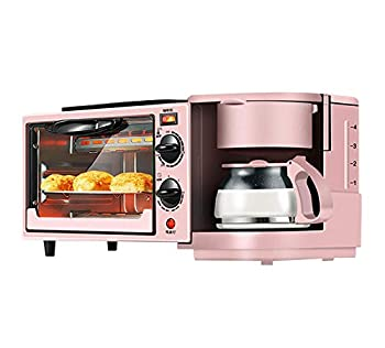 Toaster Family Multifunction Electric Toaster Machine 3 in 1 Stainless Steel Oven Coffee Maker with Kettle Egg Griddle Nonstick Pot 650W Pink