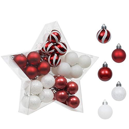 Valery Madelyn Weihnachtskugeln 40 Stücke 4cm Kunststoff Christbaumkugeln Weihnahctsdeko bruchsicher Weihnachtsbaumkugeln zum Hängen in Sternverpackung für Baumschmuck Rot Weiß Basiskugel Thema