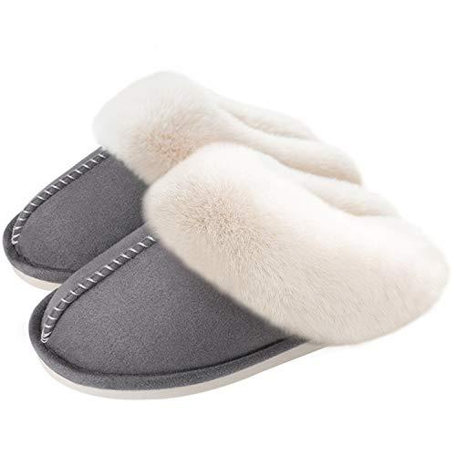 ORPAPA Zapatillas de estar por casa para mujer, forradas de felpa, cómodas, ligeras, con suela interior y exterior de goma, color Gris, talla 37.5/38.5 EU