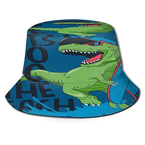 MAYUES Sombrero de Pescador Unisex Diseño de Vector de Dinosaurio Surfista Fresco con Tabla de Surf Plegable De Sol/UV Gorra Protección para Playa Viaje Senderismo Camping