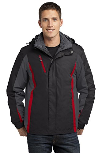 Port Authority Colorblock 3-in-1 Jacket. J321 Black/ Magnet Grey/ Signal Red M