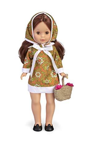 Nancy- Colección Primavera años 70, Muñeca reedición 2020 con Vestido y pañuelo a Juego Que Incluye cestito con Flores para niños y coleccionistas (Famosa 700015704)