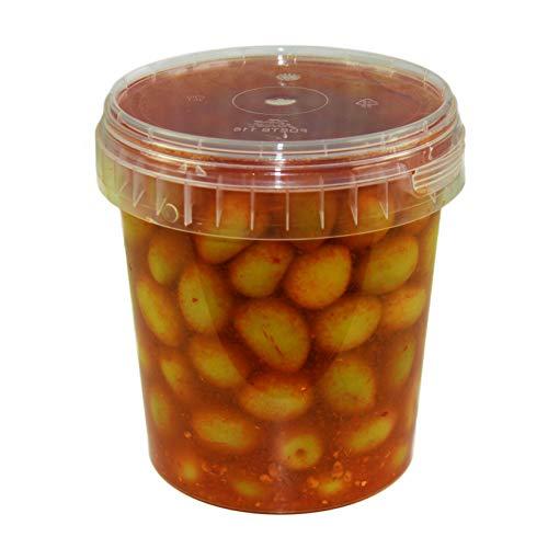 Hymor grüne Oliven pikant - 1x 615g Behälter - Oliven aus Marokko Marokkanische Olive eingelegt in Lake vegan, glutenfrei, zu Tapas, Salaten, beim Kochen
