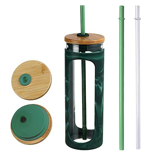 Kodrine, vaso de vidrio de 20.3fl oz con paja y tapa de bambú para botella de agua de boca ancha, taza de café helada, sin BPA, funda protectora de silicona estilo 4