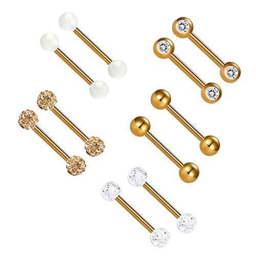 joyMerit 10pcs 14G Bar Barbells Pendientes de Botón de Oreja de Diamantes de Imitación Doble Longitud 12/14/16 Mm - Multicolor, 12mm