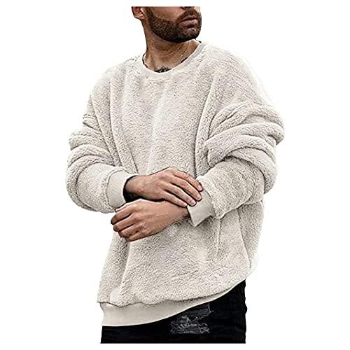 Fuzzy - Sudadera de cuello redondo para hombre con forro polar de manga larga y doble cara, Blanco, L