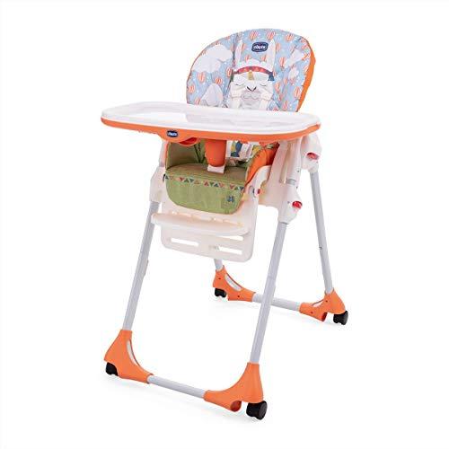 Chicco Polly Easy - Trona amplia, compacta y sencilla, 4 ruedas, para niños de 6 meses a 3 años, color naranja (Llama)