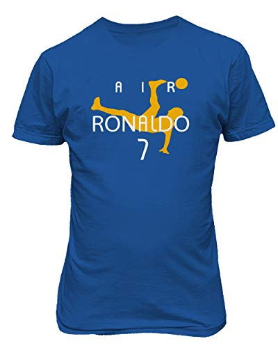 BTA Apparel Neu Fußball Air CR7 Ronaldo Cristiano Ronaldo Juve Herren T-Shirt (Königsblau, L)