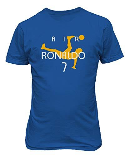 BTA Apparel Neu Fußball Air CR7 Ronaldo Cristiano Ronaldo Juve Herren T-Shirt (Königsblau, M)