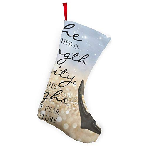 KPZ She is Clothed in Strength and Dignity and She Laughs Without Fear of The Future 2 Pcs Christmas Stockings Fireplace Hanging Stockings for Family Decoration Holiday Party Decor
