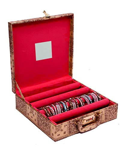 Kuber Industries 4 Rods Transparent Bangle Organizer Box Velvet Coated Jewelry Storage Case (Lock System)