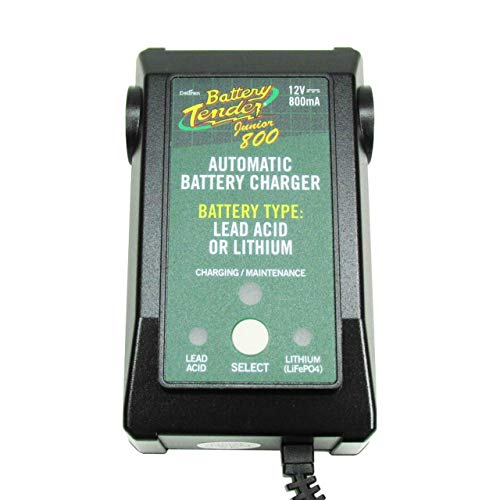Battery Tender Junior 800 Lithium, Lead Acid, AGM, GEL LiFe PO4 / LFP Battery Charger/Maintainer/Tender - Fully Automatic with 5 Year Warranty - .8 Amp Charge Rate - Part # 022-0199-DL-WH