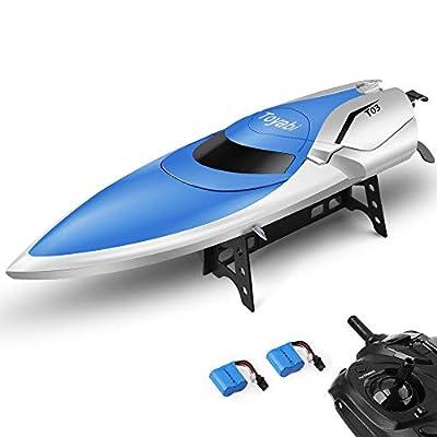 RC Bateau Télécommande piscines et Lacs 2,4 GHz Haute Vitesse RC Racing Bateau pour Adultes et Enfants + Bonus Batterie (Bluewhite)