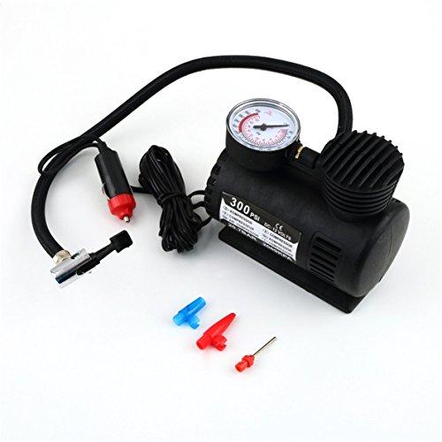 Compresor de aire, portátil, versátil, 12 V, 300 psi, bomba de inflado de neumáticos de automóvil, mini bomba de compresor compacta, inflador de aire de neumáticos de bicicleta de automóvil (negro)