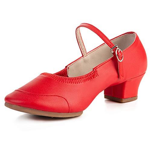 FEETCITY Women Ballroom Latin Salsa Performance Dance Shoes Red 4.5 Big Kid / 5 Women