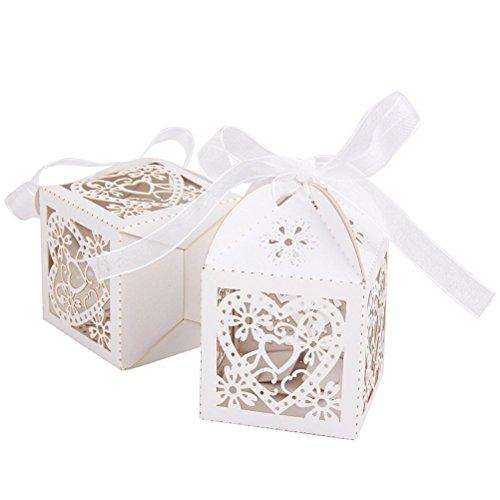 WINOMO 50 Stücke Geschenkbox Gastgeschenke Schachtel Kartonagen Schachtel für Hochzeit Geburtstag Party Taufe