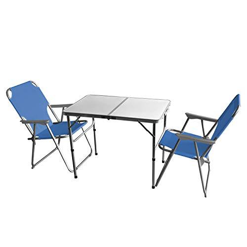 Wohaga 3tlg. Campingmöbel Set Campingtisch 'Bergen', Aluminium, 90x60cm + 2X Campingstuhl, Blau/Strandmöbel Campinggarnitur Gartenmöbel