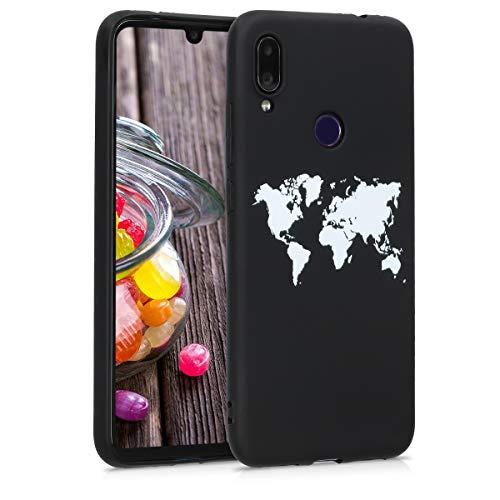 kwmobile Funda Compatible con Xiaomi Redmi Note 7 / Note 7 Pro - Carcasa de TPU Mapa del Mundo en Blanco/Negro