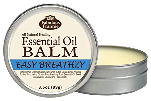 Fabulous Frannie Easy Breathzy All Natural Essential Oil Healing Balm made with Organic Coconut Oil, Shea Butter, Cocoa…