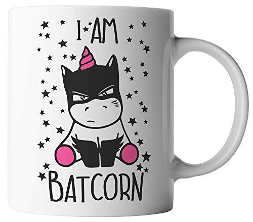vanVerden Tasse - I am Batcorn - Unicorn Einhorn Superheld - beidseitig Bedruckt - Geschenk Idee Kaffeetassen, Tassenfarbe:Pink