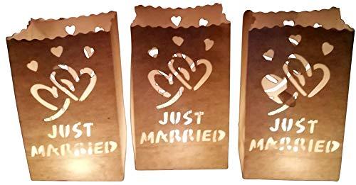 GW Handels UG Lot de 10 sacs en papier pour bougies chauffe-plat, lanternes, bougeoirs, bougeoirs, sachets pour décoration de mariage