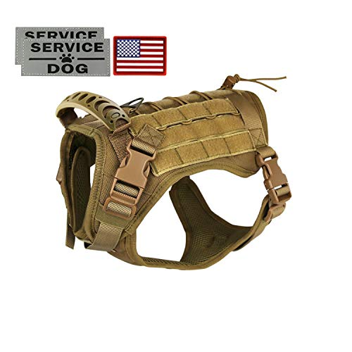 Tactical Service Dog Vest Harness Outdoor Training Handle Water-Resistant Comfortable Military Patrol K9 Dog Harness with Handle