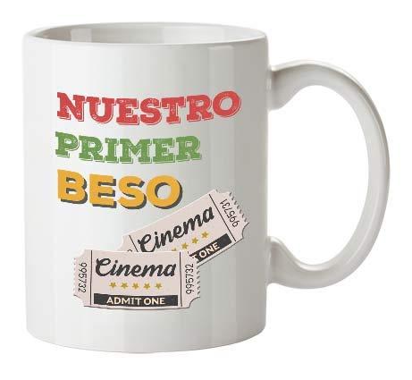Kembilove Tazas de Desayuno para Parejas – Taza de Café con Frase Divertida y Graciosa para Enamorados Nuestro Primer Beso – Tazas para Regalar el día de San Valentín