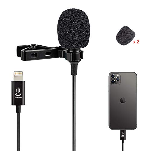 Microfono Lavalier Professionale a Condensatore Omnidirezionale per iPhone 6/7/7 plus/8/8 plus/11/11 Pro/11 Pro Max, iPhone SE/X/XS/XR, YouTube Vlogging Facebook Registrazione Video