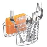 mDesign Portaestropajos con Dos cestas – Práctico Organizador de Fregadero – Estropajero Doble y escurridor para Utensilios de Limpieza – Se coloca Entre cubetas – Transparente