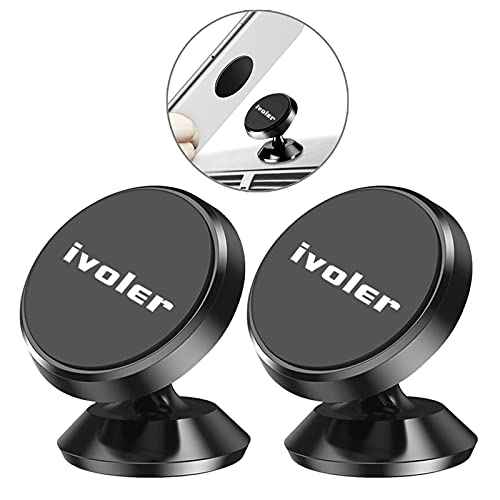 ivoler Porta Cellulare Auto Magnetico [2 Pezzi] Supporto Smartphone per Auto, 360 Gradi di Rotazione Universale Porta Telefono Auto per Phone, Xiaomi, Huawei -Nero