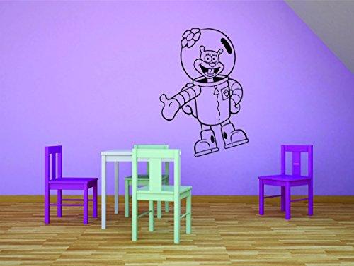 Autocollant Mural : Sandy Joues Bob l'éponge Dessin animé pour Enfants d'école Salle de Classe Daycare Pre école personnalisés Autocollant Mural en Vinyle Autocollant 20 inches X 30 inches Noir