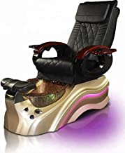 Salon Shiatsu Massage Pedicure Foot Spa Chair w/Pipeless Tub Basin Tub and Operator Stool - LED Lights (Black Chair) (Gold Basin)