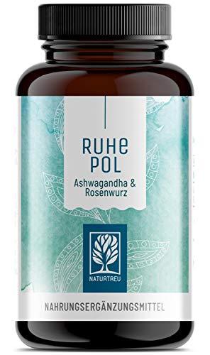 Ashwagandha Rosenwurz Kapseln hochdosiert - 500mg Ashwagandha + 500mg Rhodiola Rosea - Vegan - 120 Kapseln - Pflanzlich und ohne Zusätze - Ruhepol