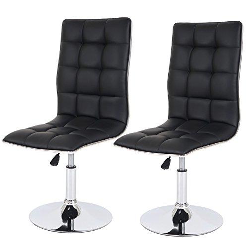 Mendler Set 2x sedie HWC-C41 design moderno ecopelle sala pranzo 54x43x89-103cm nero
