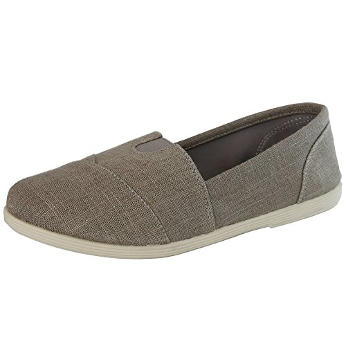 DailyShoes Extra Cushioned Casual Flats Flat Shoe Loafer Boat Slip On Classic Shoes Ultra Breathable Resistant Walker-02 Charcoal Linen 7.5