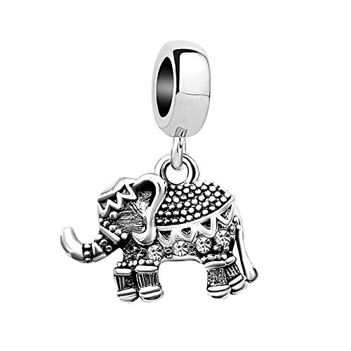 KunBead Elephant Bead Charms for Bracelets Christmas Daddy's Little Girl Father Daughter Charms for Women