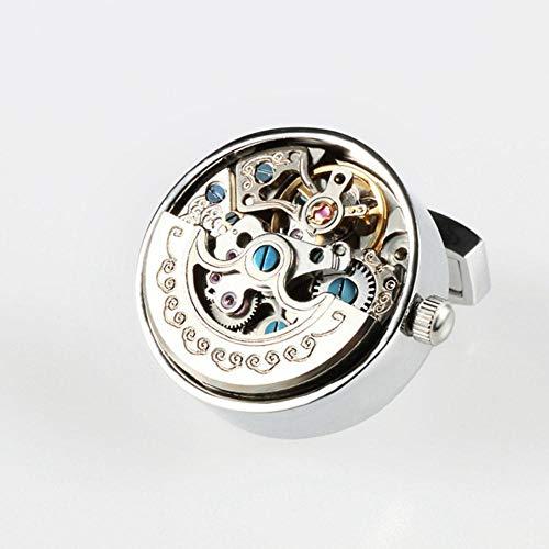 QIQI funktionale Uhrwerk ManschettenknöpfeEdelstahl Steampunk Gear Watch Mechanismus Manschettenknöpfe für Herren, Rhodium überzogen
