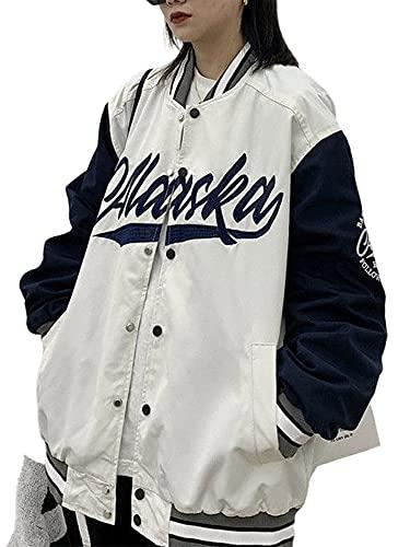 ADYD Mujeres Y2K botón hasta chaqueta de vuelo clásica carta bordado oversize chaquetas de béisbol impresión bombardero chaqueta pareja uniforme, blanco, L