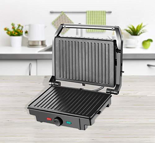 Kontaktgrill XL 180 Grad klappbar Tischgrill Kratzfesten Antihaft-beschichtung Sandwich Maker Edelstahl Temperaturkontrolle 1600 W