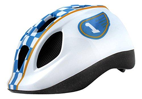 WORLD V690022A Casque de vélo Mixte Adulte, Blanc/Bleu/Jaune, Taille 52-56
