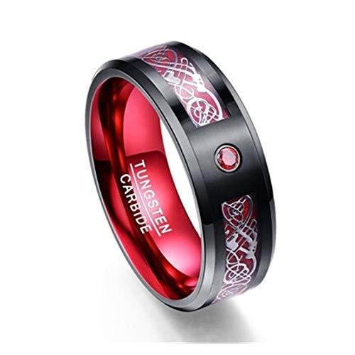 XYBH Timbre de fibra de carbono esmerilado azul circón anillo para hombre con anillo de carburo de tungsteno 100% (color de la piedra principal: T044R, tamaño del anillo: 7,5)