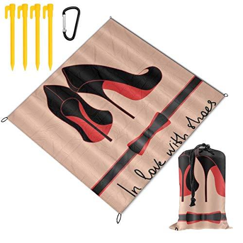 HARXISE Alfombras de Playa,Sexy Negro Rojo Zapatos de tacón Alto Girly Femenino Niñas Mujeres Moda Maquillaje,Manta de Picnic Impermeable para la Playa Acampar Picnic y Otra Actividad al Aire Libre