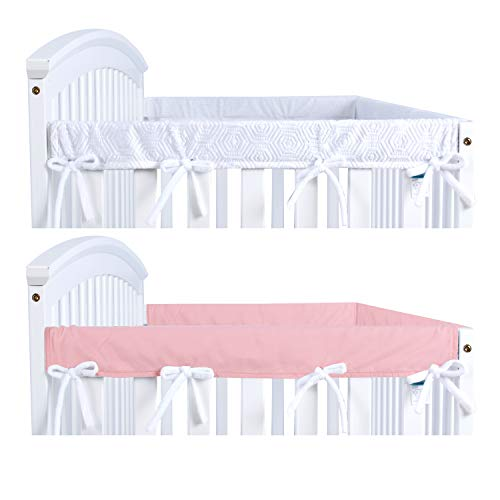 Crib Rail Cover Protector for Narrow Side Crib Rails 2 Pack, Pink/White, Protecting Your Crib Rail and Teething Baby