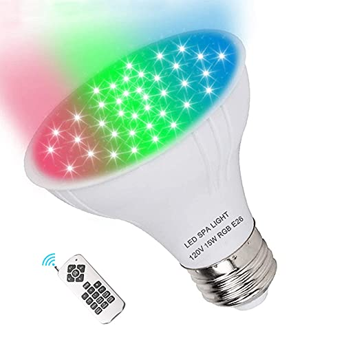 Dari LED Spa Light Bulb 120V RGB 15W Color Changing LED Spa Replacement Bulb with Remote Control E26 Base Br20 RGB Bulb for Pentair Hayward Jandy Hot Tub Fixtures (Battery Not Included)