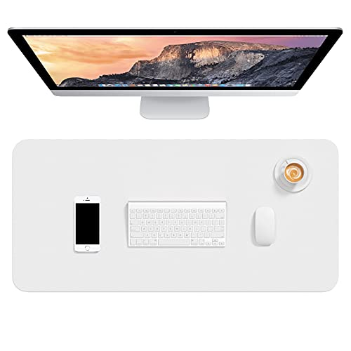 """Hsurbtra Desk Pad, 30"""" x 14"""" PU Leather Desk Mat, XL Extended Mouse Pad, Waterproof Desk Blotter Protector, Ultra Thin Large Laptop Keyboard Mat, Non-Slip Desk Writing Pad for Office Home, White"""