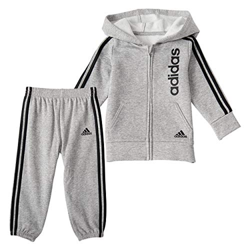 adidas Boys' Fleece Zip Front Hoodie & Jogger Active Clothing Sweatsuit Set, Linear Medium Grey, 4T