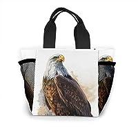 鷹の水彩画 ランチバッグ トートバッグ お弁当袋 ミニ ハンドバッグ エコバッグ 保温 保冷 おしゃれ かわいい 折りたたみ