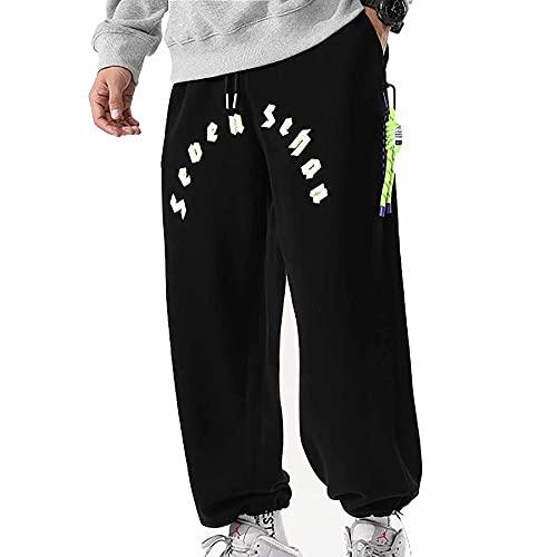 LZJDS Pantalones Deportivos para Hombre Letras tridimensionales otoño Invierno Leggings Sueltos Casual Relajado Delgado Cintura elástica Chinos Stretch Big Tall,Negro,L