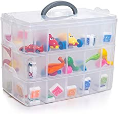 Organizer Storage Boxes, Plastic Clear Container Case Stackable Removable Dividers 30 Compartments 3 Layers with Handle Lids for Crafts Arts Sewing Tools Kids Small Toys Jewelry (13x7.48x9.64 inch)
