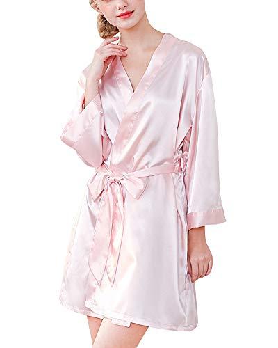 Damas de Honor Ropa Dormir para Mujer Batas y Kimonos de Bordado Corto Pink L